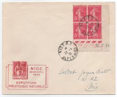 Exposition Philatelique De Nice 1935 - Coin Daté Sur Lettre Oblitérée Du 23 Avril 1935 - 1921-1960: Periodo Moderno