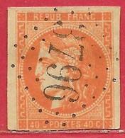 France N°48a Cérès Type Bordeaux 40c Orange Vif (GC 3796 St-Paul-de-Fenouillet) 1870 O - 1870 Ausgabe Bordeaux