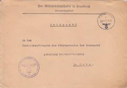 Lettre à Entête (Der Militarbefehlshaber...) De Metz (Feldpost D ---) En Franchise Le 11/11/42 (1° Date) + Cachet Violet - Elzas-Lotharingen