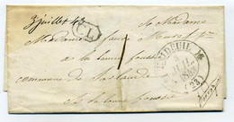 T12 EXIDEUIL ( Excideuil) + Cachet CL + Taxe 1 Décime Manuscrite / Dept 23 Dordogne / 1843 - 1801-1848: Precursori XIX