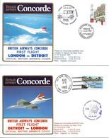 CONCORDE British Airways G-BOAE. Premier Vol LONDRES-DETROIT-LONDRES 23 Août 1985  (2plis) - Concorde