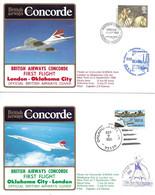 CONCORDE British Airways G-BOAA. Premier Vol LONDRES-OKLAHOMA CITY-LONDRES  6-7 Septembre 1985  (2 Plis) - Concorde