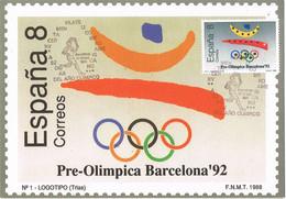 38788. Tarjeta Maxima BARCELONA 1991. Serie Pre Olimpica. Perforado Comercial, Perfin, Firmenlung - Cartoline Maximum