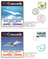 CONCORDE British Airways G-BOAA. Premier Vol LONDRES-COLUMBUS-LONDRES  10 Septembre 1985  (2 Plis) - Concorde