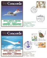 CONCORDE British Airways G-BOAF. Premier Vol LONDRES-BUDAPEST-LONDRES  14 Septembre 1985  (2 Plis) - Concorde