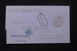 INDE - Lettre De Calcutta Pour Bordeaux En 1868 Par Voie Anglaise, Cachet D'entrée En Rouge Par Marseille - L 83445 - 1858-79 Crown Colony