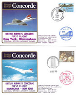 CONCORDE British Airways G-BOAF. Premier Vol NEW YORK-BIRMINGHAM-NEW YORK  9-16 Septembre 1985  (2 Plis) - Concorde