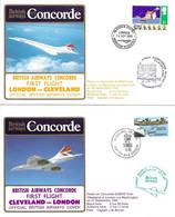 CONCORDE British Airways G-BOAF. Premier Vol LONDRES-CLEVELAND-LONDRES  26-27 Septembre 1985  (2 Plis) - Concorde
