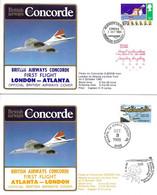 CONCORDE British Airways G-BOAB.  Premier Vol LONDRES-ATLANTA-LONDRES  2-3 Octobre 1985  (2 Plis) - Concorde