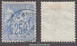 *RARE* 25c Sage Outremer Vif Type I Cachet à Date Bleu TB (Y&T N° 68b, Cote +++€) - 1876-1878 Sage (Tipo I)