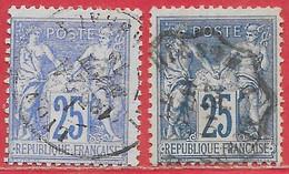 France N°78 Sage 25c Outremer & N°79 25c Bleu (type II N Sous U) 1876-77 O - 1876-1898 Sage (Type II)