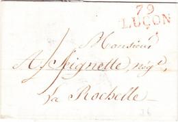 Vendée Marque Linéaire Luçon Rouge 18 Octobre 1814 - 1801-1848: Vorläufer XIX