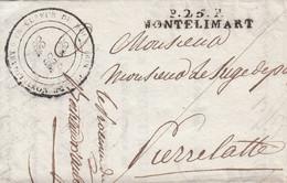 MARQUE POSTALE DROME LAC   P.25.P MONTELIMART POUR PIERRELATTE  29 SEPT 1816 - 1801-1848: Precursors XIX