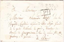 Landes Marque Linéaire Port Payé Dax 21 Septembre 1814 Pour Paris Sans Texte - 1801-1848: Vorläufer XIX