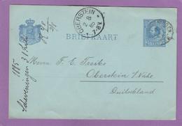 GANZSACHE AUS SCHEVINGEN NACH OBERSTEIN,1885. - Postwaardestukken