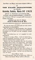 OORLOG 40/45 -  DE COCK Gerarda ° Antwerpen  1926 + BURCHT 1945 - Religion & Esotericism
