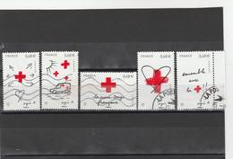 FRANCE 2015 ISSU DU BLOC OBLITERE CROIX ROUGE D AMOUR ET DE COURAGE 5001 A 5005        - - Used Stamps