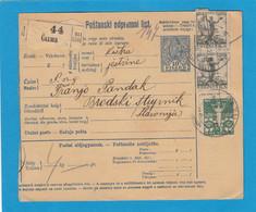 UNGARISCHE PAKETKARTE MIT JUGOSLAWISCHE B.MARKEN, IN CAZMA (KROATIEN) VERWENDET,1927. - Covers & Documents