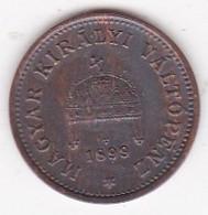 Hongrie 1 Filler 1899 KB Franz Joseph I,  En Bronze, KM# 480 - Hungary