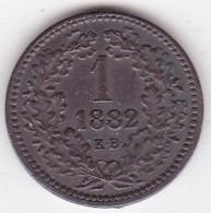Hongrie 1 Krajczar 1882 KB  Franz Joseph I,  En Cuivre, KM# 458 - Hungary