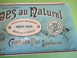 Etiquette Conserve/Cèpes Au Naturel/CHAMBON Fils/SOUILLAC ( Lot)/Usine à Vapeur/Expo.Univ .Paris 1889/Fin XIX    ETIQ177 - Fruits & Vegetables