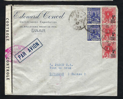 ALGERIE 1940: LSC D'Oran Pour La Suisse Affr. De 3,50fr  Et Cachet De Censure Français - Storia Postale