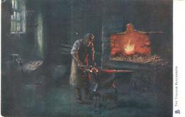 """Edward King. The Village Blacksmith"" Tuck Oilette Firelight Effects Ser. PC # 1539 - Tuck, Raphael"