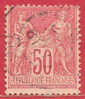 France N°98 Sage 50c Rose (type II N Sous U) 1890 O - 1876-1898 Sage (Type II)