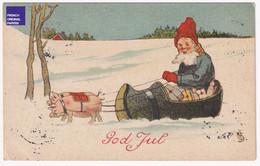 CPA God Jul / Joyeux Noël 1908 Suède Lutin Gnome Santa Claus Attelage De Cochons Sabot Neige Hiver Christmas A35-73 - Santa Claus