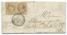 PAIRE N° 28 BISTRE NAPOLEON SUR LETTRE / CENNES MONESTIES POUR LASTOUR / 1869 / BOITE RURALE A VILLEMAGNE - 1849-1876: Klassik