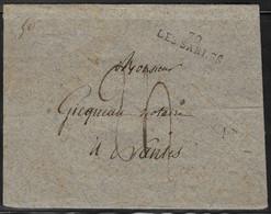 France - Marcophilie - 85 Vendée - Marque Postale 79 Les Sables - Enveloppe Grise, Papier Brut - 1801-1848: Precursors XIX
