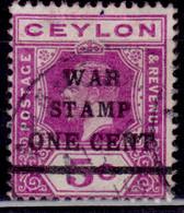 "Ceylon 1918, KGV, Overprint ""War Stamp"", 1c Over 5c, SG335, Used - Ceylon (...-1947)"