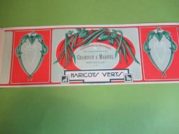 Etiquette Conserve/Haricots  Verts / CHAMBON & MARREL/SOUILLAC  Lot/Ronteix Périgueux/ Début  XXème Siècle     ETIQ192 - Fruits & Vegetables