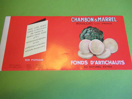 Etiquette Conserve/Fonds D'Artichauts / CHAMBON & MARREL/SOUILLAC  Lot/Ronteix Périgueux/mi- XXème Siècle     ETIQ193 - Fruits & Vegetables
