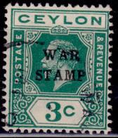 "Ceylon 1918, KGV, Overprint ""War Stamp"", 3c, SG332, Used - Ceylon (...-1947)"