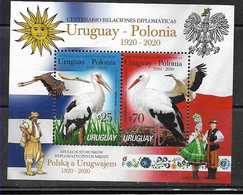 URUGUAY 2020 POLAND DIPLOMATIC RELATIONS BIRD STORKS,FLAGS,TYPICAL DRESSES  S/SHEET,BLOC MNH - Unclassified