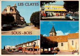 Dep 78 , Cpm LES CLAYES SOUS BOIS , L'Hotel De Ville , Le CEG Briquet , Le Centre Commercial ,l'Eglise .. (23636) - Les Clayes Sous Bois