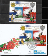 URUGUAY 2020 POLAND DIPLOMATIC REL ANIV. BIRDS STORKS,FLAGS,TYPICAL DRESSES,S/SHEET,BLOC.MNH+FDC - Unclassified