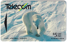 NEW ZEALAND A-935 Magnetic Telecom - Animal, Polar Bear - 9NZBB - Used - Nueva Zelanda