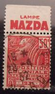 France N° 272 Type Fachi. Oblit. 50c Rouge. Timbre De Carnet. Bande Publicitaire Publicité Pub. - Publicidad