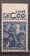 France N° 257 Type Jeanne D'Arc. Oblit. 50c Bleu. Timbre De Carnet. Bande Publicitaire Publicité Pub. - Publicidad