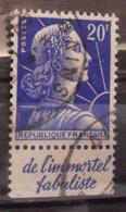 France N° 1011B Type Muller. Oblit. 20 F Bleu. Timbre De Carnet. Bande Publicitaire Publicité Pub. - Publicidad