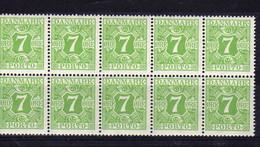 Danemark (1921-27) - Timbre-Taxe 7 ö - En Bloc De 10 - Neuf** - MNH - Port Dû (Taxe)