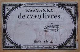 Assignat - 5 Livres FRANCE 1793 Série 15183 AUDOUIN - Assignats