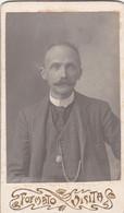 2 Photo Foto - Formato CDV - Signore Distinto Con Baffi - Years '1890 - Foto Carlo, Genova, Via Del Seminario - Anciennes (Av. 1900)