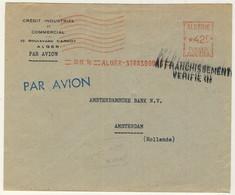 """FRANCE / ALGÉRIE 1950 Cachet """"AFFRANCHISSEMENT VÉRIFIÉ (1)"""" (d'Alger) Sur LSC AVION Pour Amsterdam - Covers & Documents"""