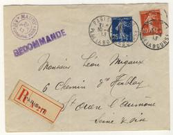 """FRANCE 1913 Yv.138 & 140 Perforés """"AM"""" Sur LSC Recommandée D'Arthur Maury (Ancoper AM 135) - Perfins"""