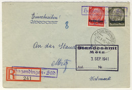 FRANCE / LORRAINE / LOTHRINGEN - 1941 Yv.30 & 34 Sur LSC Recommandée De HAGENDINGEN-SÜD (Talange) Pour METZ - Alsace-Lorraine
