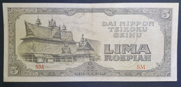Japanese Occupation Indonesia 5 Rupiah 1944 Block SM XF To XF+ - Indonesia