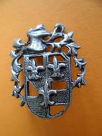 Ancienne Broche Métal Argenté - Blason Fleur De Lys - Ville - Ajouree Armure - à Identifer Merci - - Otros